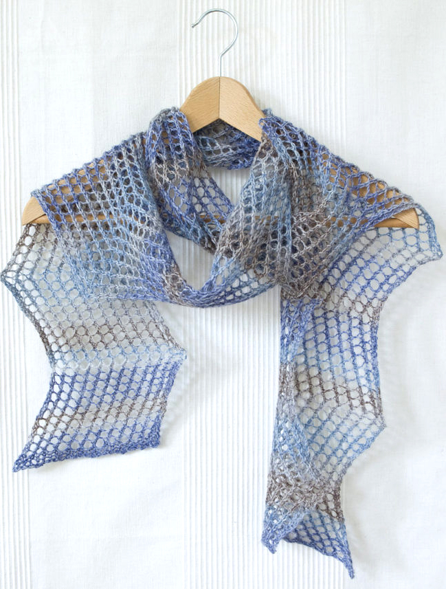 Free Knitting Pattern for Easy 2 Row Repeat Aegean Scarf