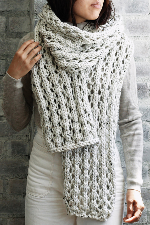 Free Knitting Pattern for 4 Row Repeat Affirmations Scarf