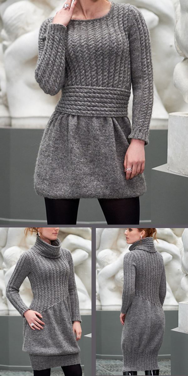 Knitting pattern for Aibell Dress With Cowl or Belt