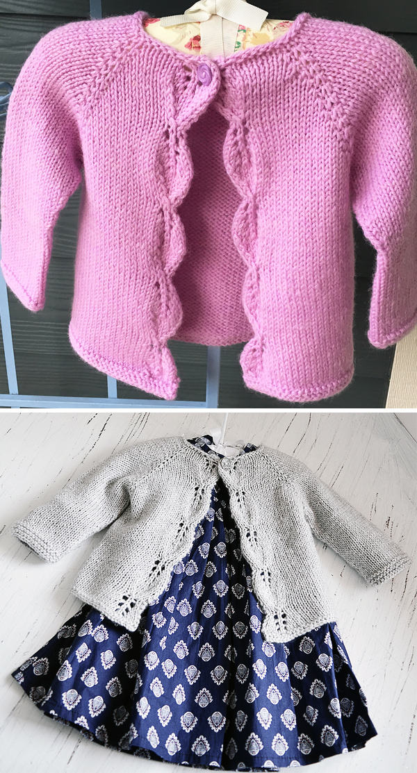 Knitting Pattern for Easy Aida Baby Cardigan