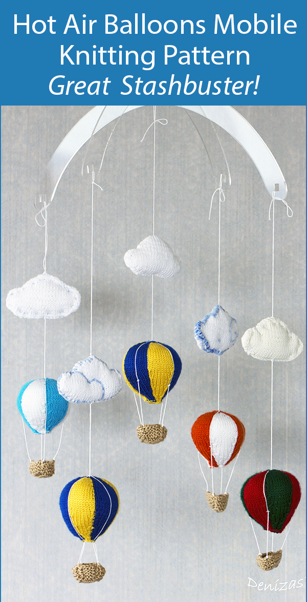 Knitting Pattern Hot Air Balloons Baby Mobile Stashbuster