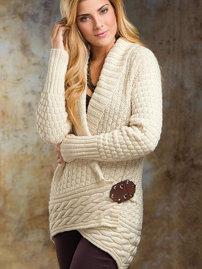Free knitting pattern for Alabaster wrap cardigan