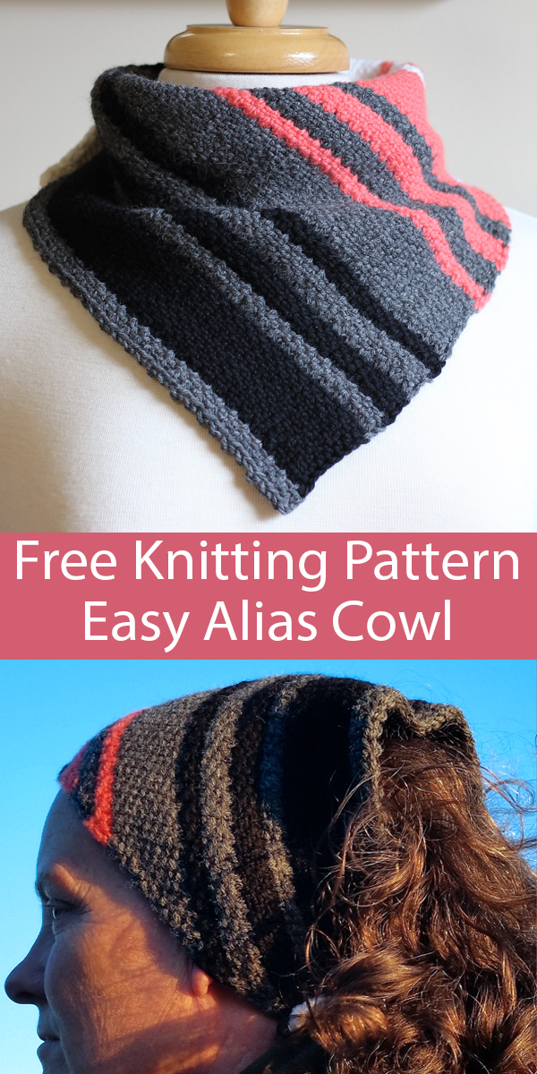 Free Knitting Pattern for Easy Alias Cowl with 2 Row Repeat