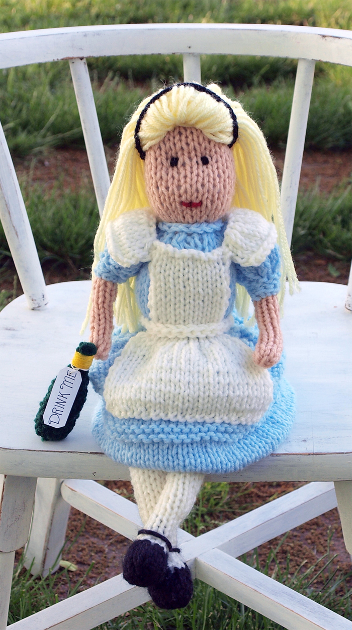 Free Knitting Pattern for Alice in Wonderland Doll