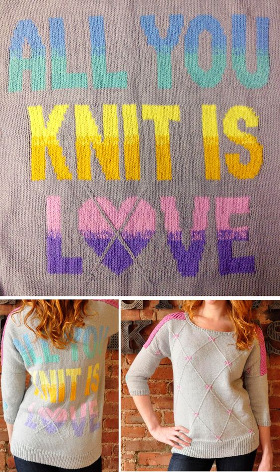 Knitting Pattern for All You Knit Is Love Heart-Gyle Sweater