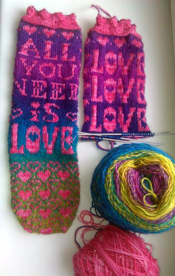 Free Knitting Pattern for All You Need Is Love Socks