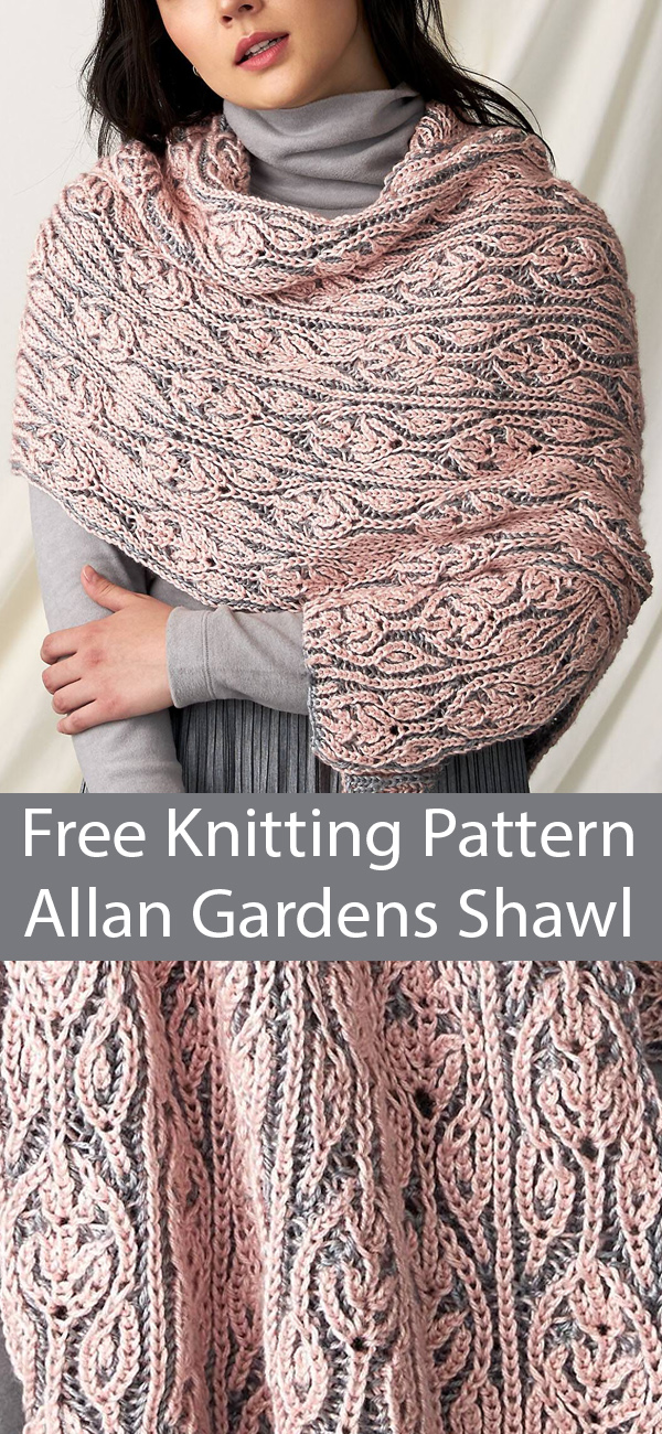 Free Knitting Pattern for Allan Gardens Brioche Shawl