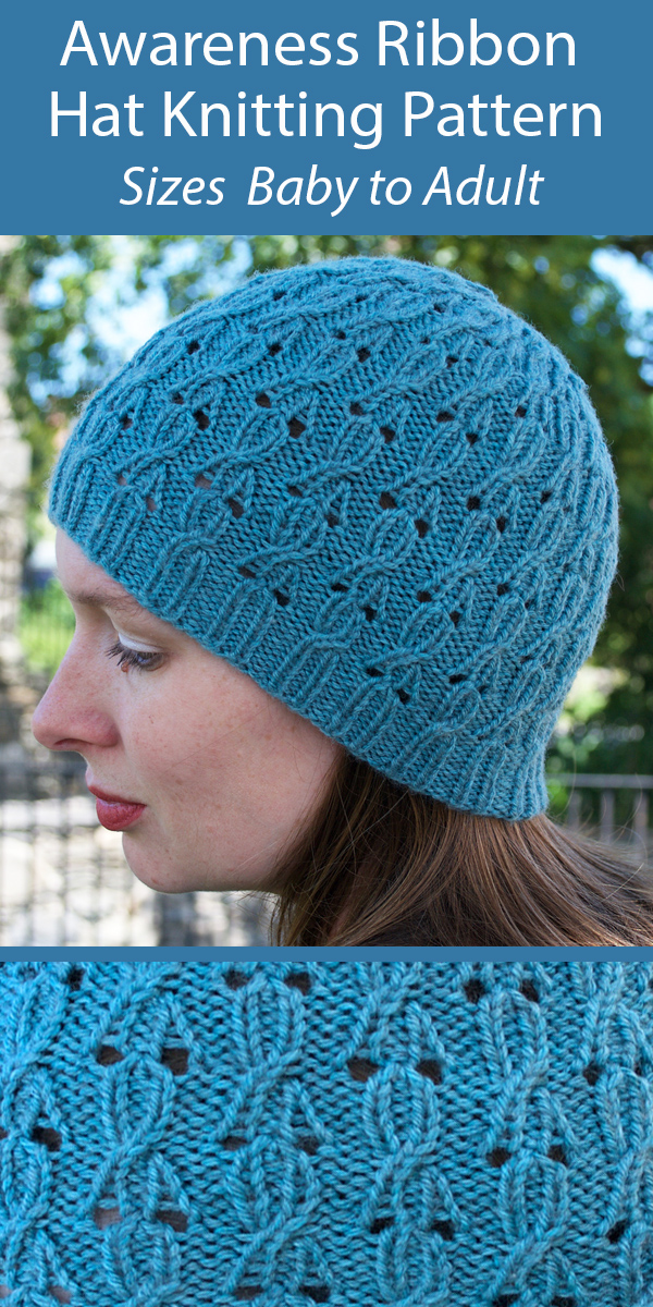 Knitting Pattern for Allichka Awareness Ribbon Hat