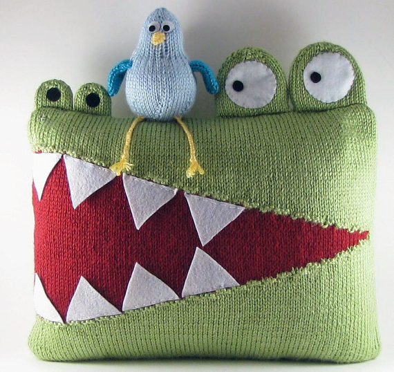 Alligator Pillow Knitting Pattern and more pillow knitting patterns