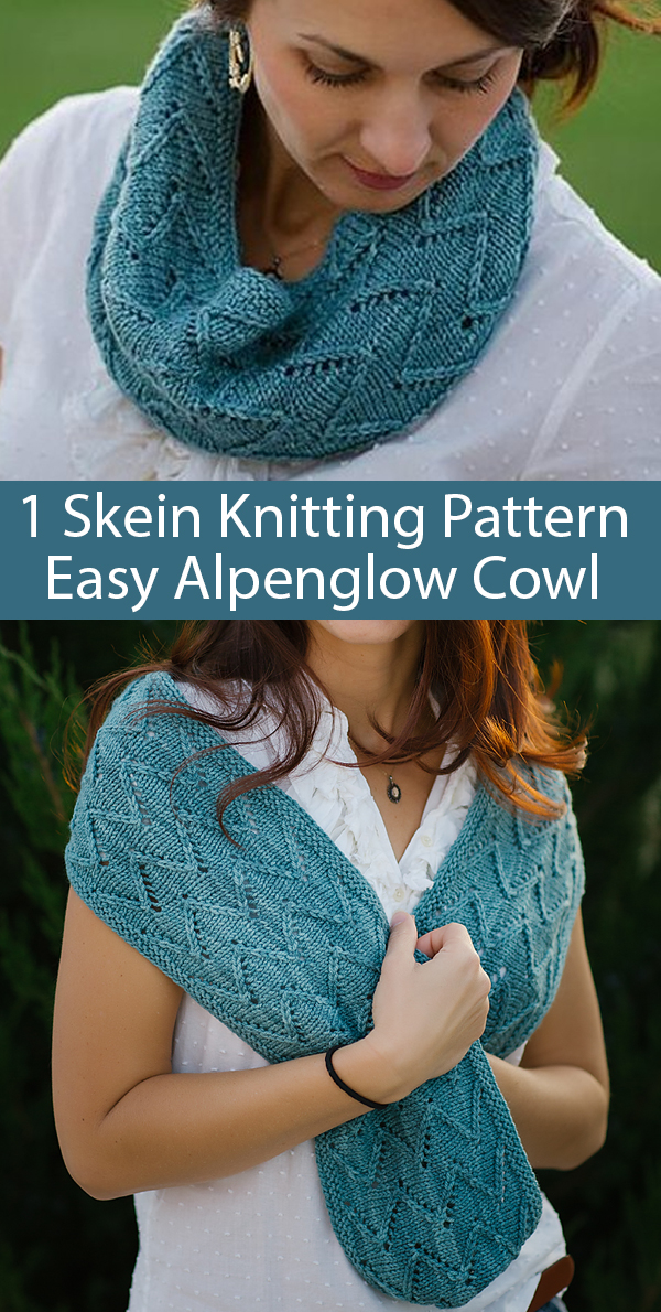 Knitting Pattern for 1 Skein Easy Alpenglow Cowl