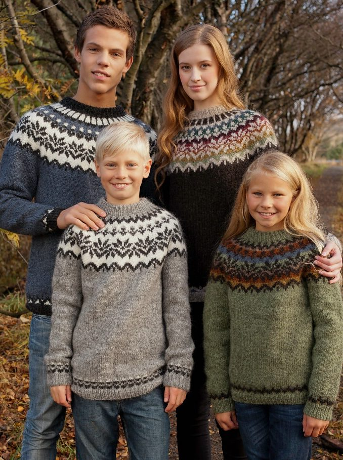 Free knitting pattern for Amaelfi Icelandic Sweater for the Family