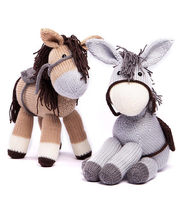 Free Knitting Pattern for Dolly the Donkey & Bramble the Horse by Amanda Berry
