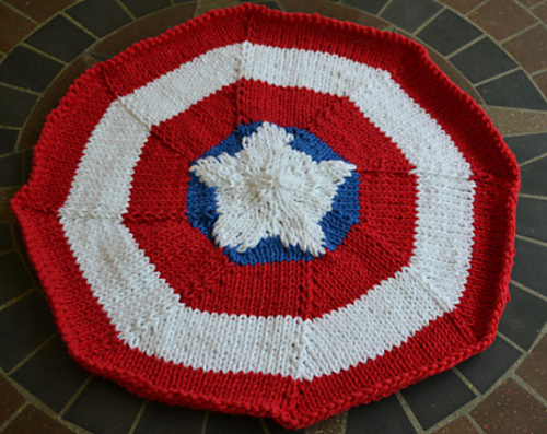 Free Knitting Pattern for Captain America Placemat