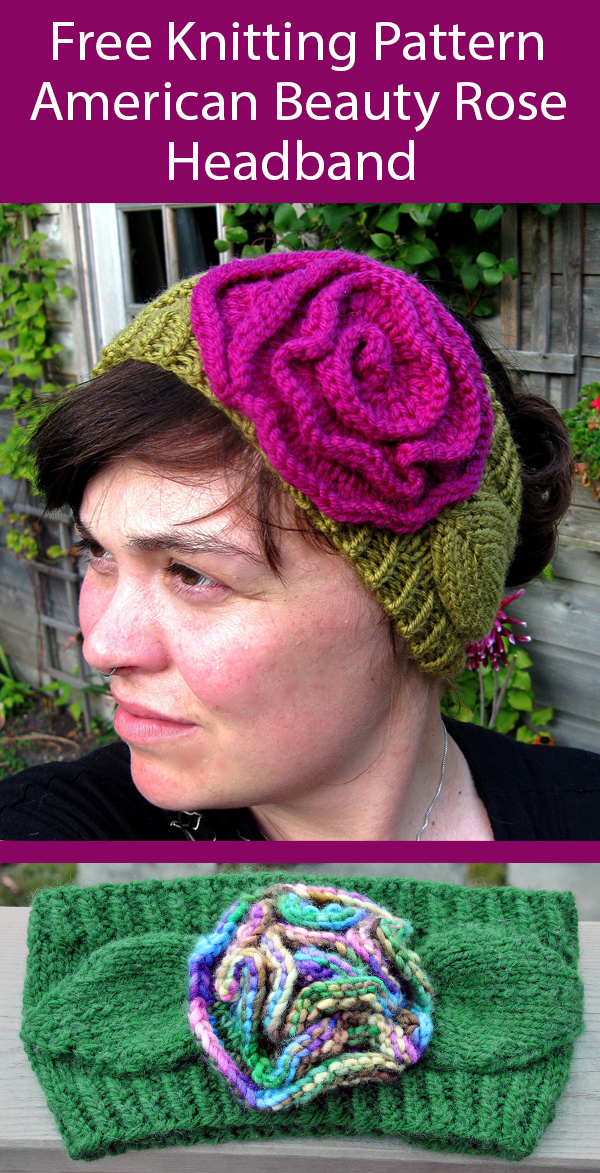 Free Knitting Pattern for American Beauty Rose Headband in 4 Sizes