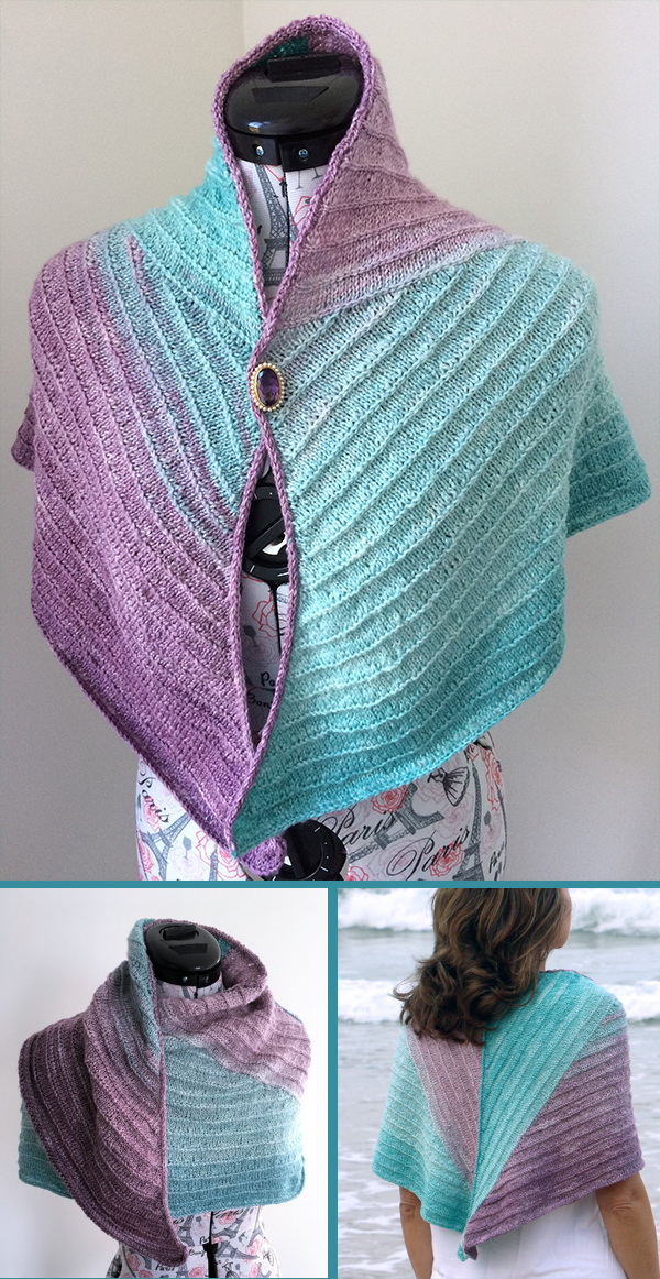 Knitting pattern for Amethyst Ice Wrap