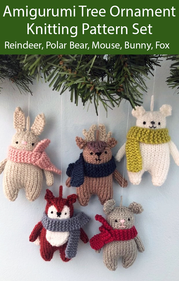 Knitting Patterns for Christmas Tree Ornaments  Red-Nosed Reindeer, Polar Bear, Mouse, Bunny, Fox