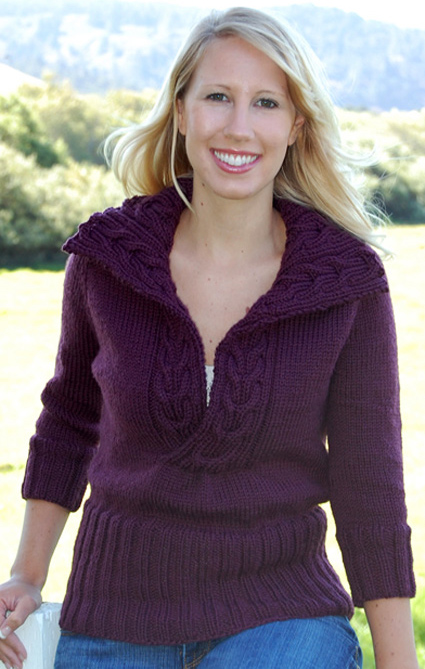 Free Knitting Pattern for Amused Pullover Sweater with Reversible Cables