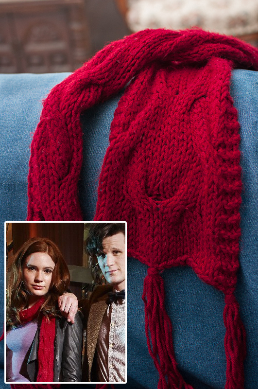 Free Knitting Pattern for Amy Pond Pandorica Opens Scarf