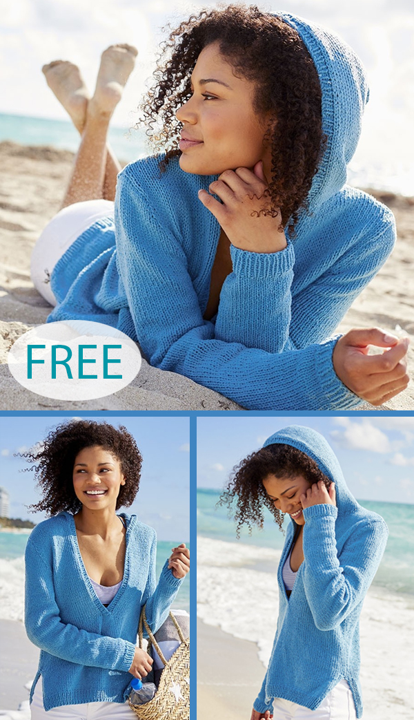 Free Knitting Pattern for Anderson Ranch Hooded Pullover