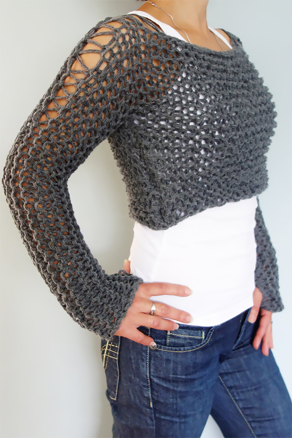 Knitting Pattern for Andra Cropped Thumb Hole Sweater