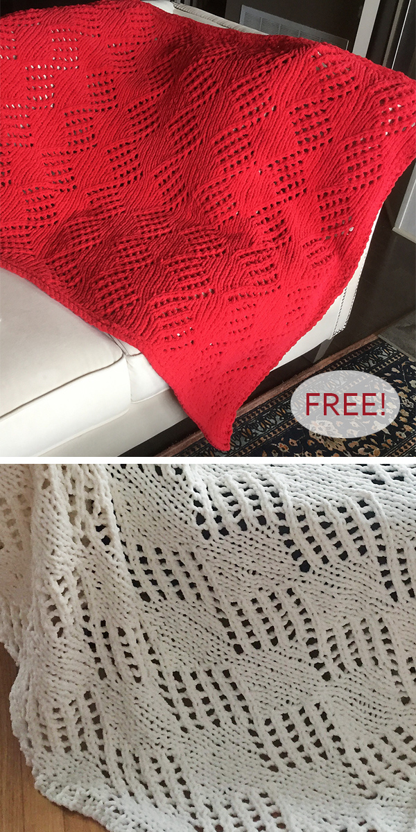 Free Knitting Pattern for Easy Angled Eyelets Blanket