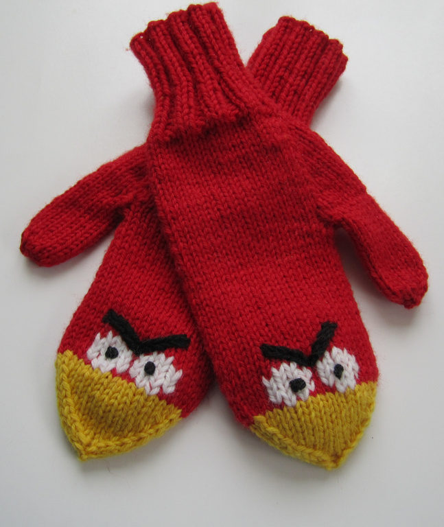 Free Knitting Pattern for Angry Birds Mittens