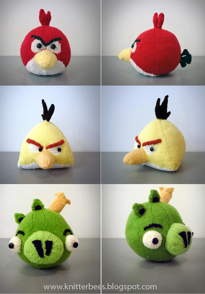 Free knitting patterns for Angry Birds plush toys Red Bird Yellow Bird Green Pig