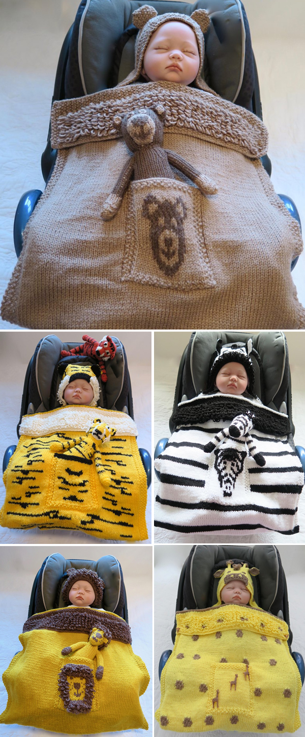 Knitting Pattern for Animal Car Seat Blankets