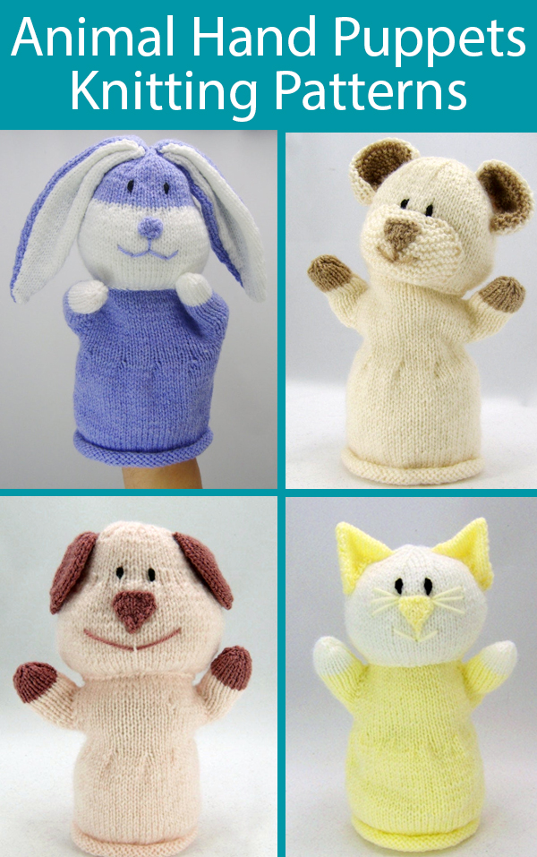 Knitting Pattern for Animal Hand Puppets