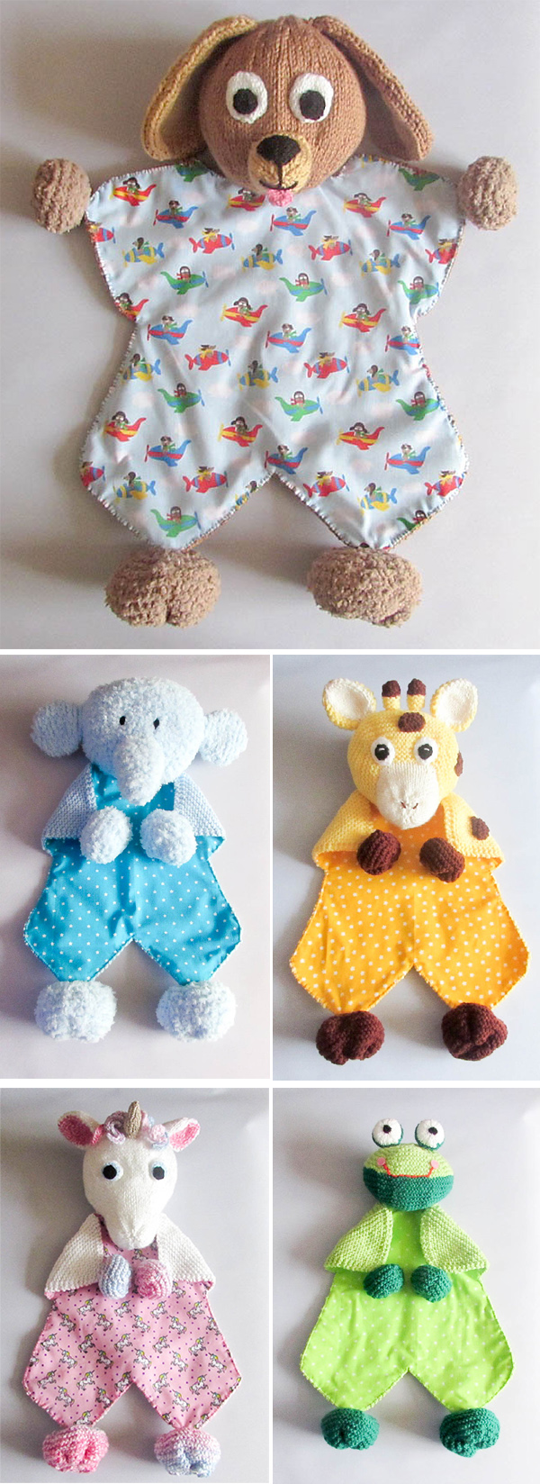 Knit and Sew Patterns for Animal Comfort Loveys