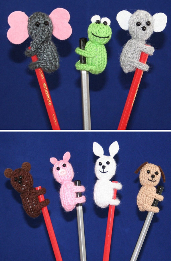 Knitting Pattern for Animal Pencil Toppers