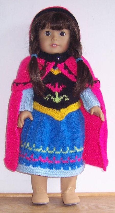 Knitting Pattern for Princess Anna Doll Costume