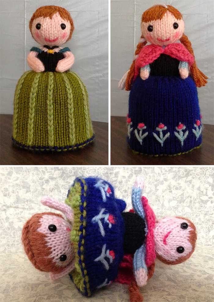 Free Knitting Pattern for Anna Frozen Flip Doll