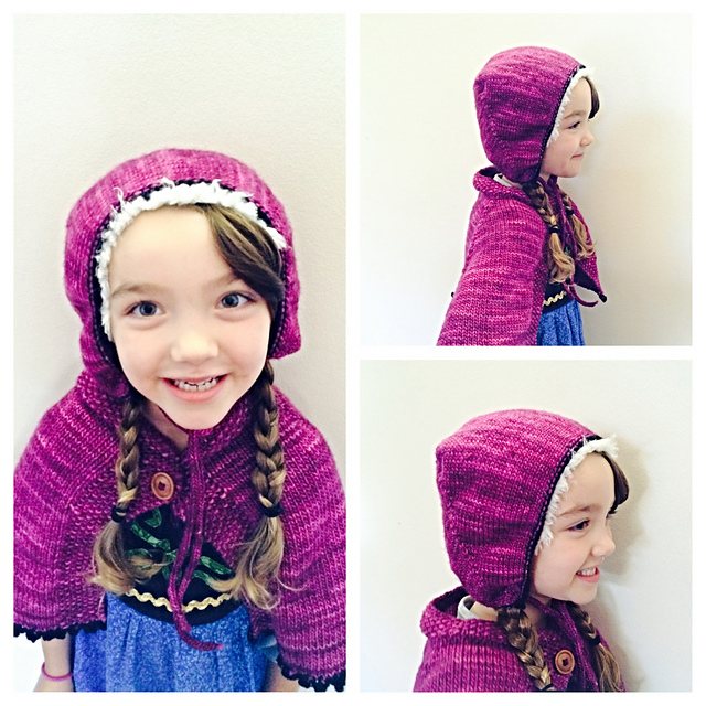 Frozen Anna Cape and Hat Set Knitting Pattern by Hope Bell | Frozen Inspired Knitting Patterns at https://intheloopknitting.com/frozen-knitting-patterns