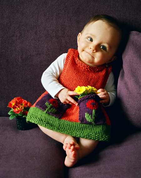 Free knitting pattern for Anouk Dress pinafore for baby or toddler