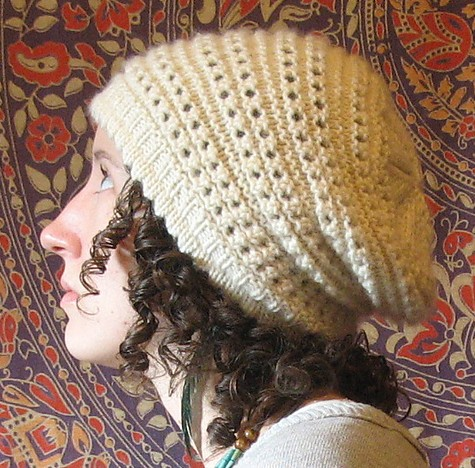 Free knitting pattern for Antelope Slouch Hat slouchy beanie featuring picot brim and eyelets