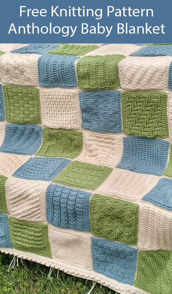 Free Knitting Pattern for Anthology Sampler Baby Blanket