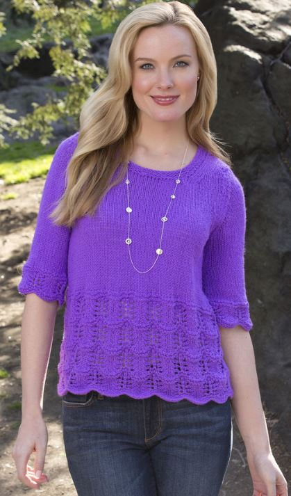 Free knitting pattern easy lace Any Time Top