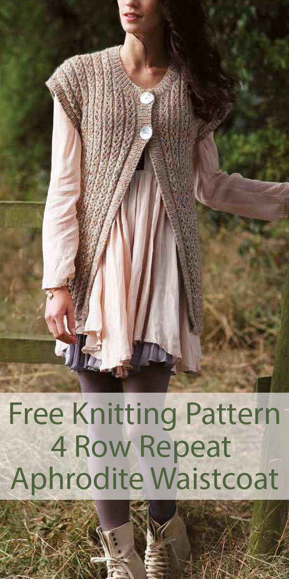 Free Knitting Pattern for 4 Row Repeat Aphrodite Waistcoat