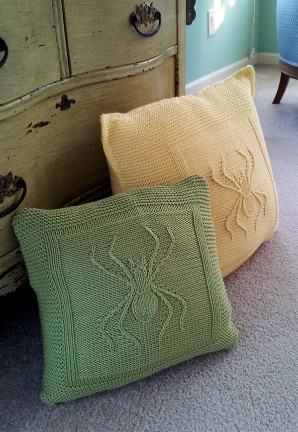 Free Knitting Pattern for Arachnid Throw Pillow