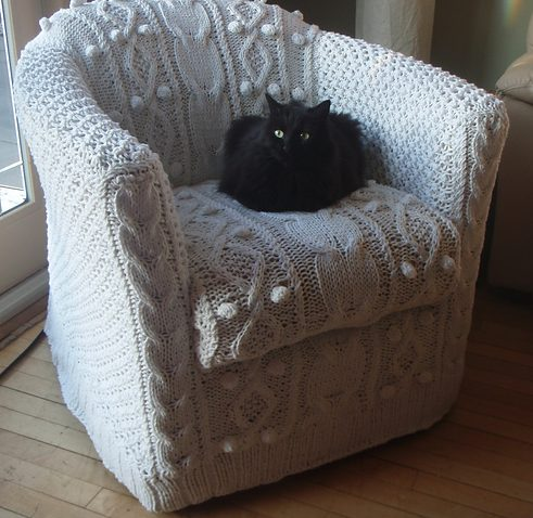 Knitting pattern for aran armchair cover