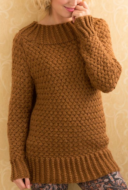 9a941a579 Free Knitting Pattern for Aran Basket Stitch Sweater