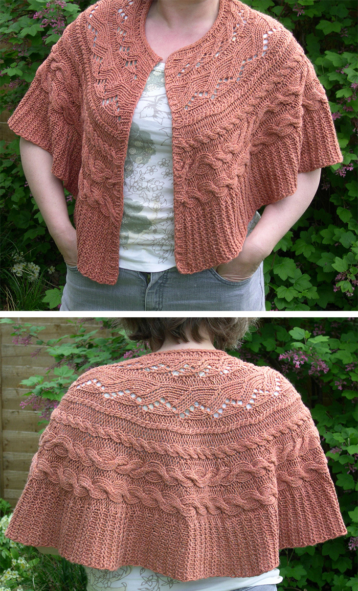 Free Knitting Pattern for Aran Cable Circle Wrap