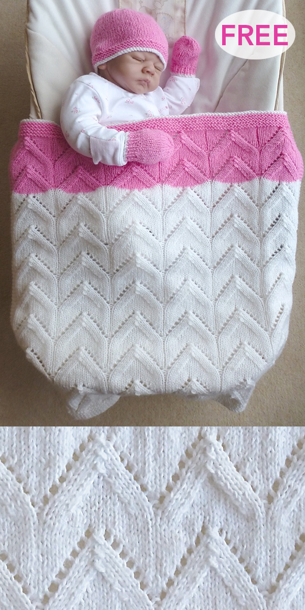Free Knitting Pattern for Arches Baby Blanket, Hat, and Mittens