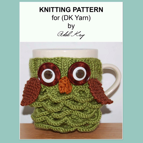 Archie Knitting Pattern PDF Document Mug Cup Cosy Warmer DK Yarn Cover by Knit Designer Adel Kay