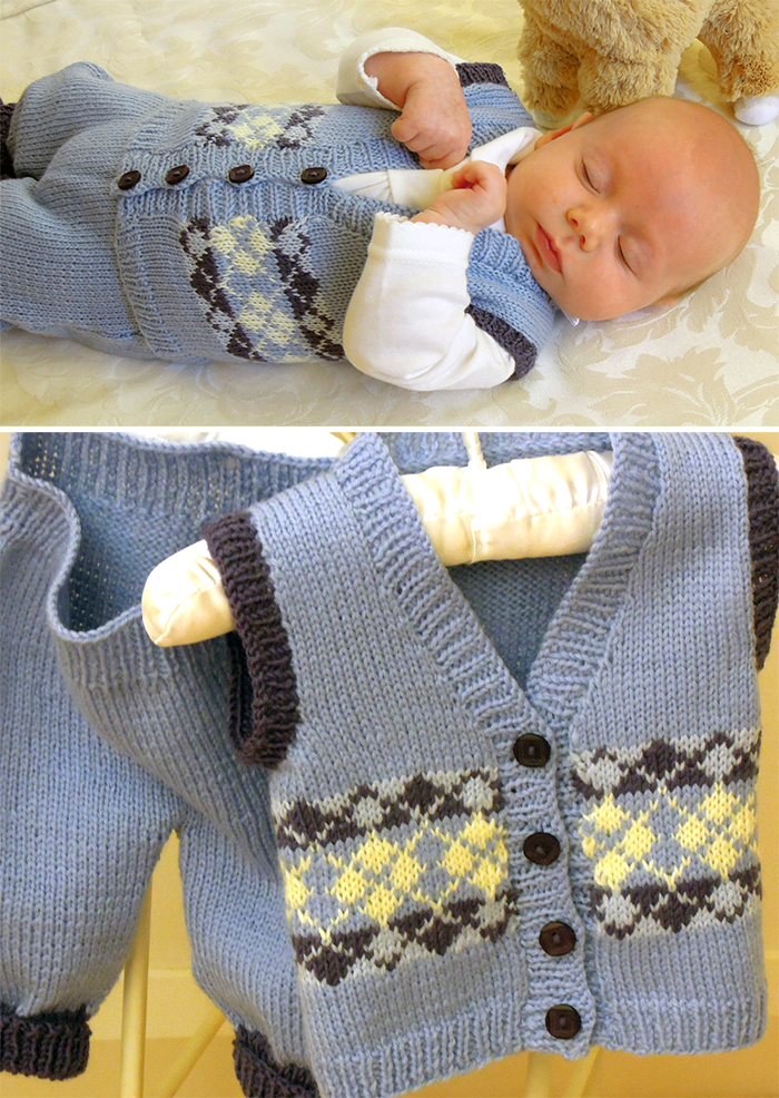 Knitting Pattern for Baby Argyle Vest and Patns