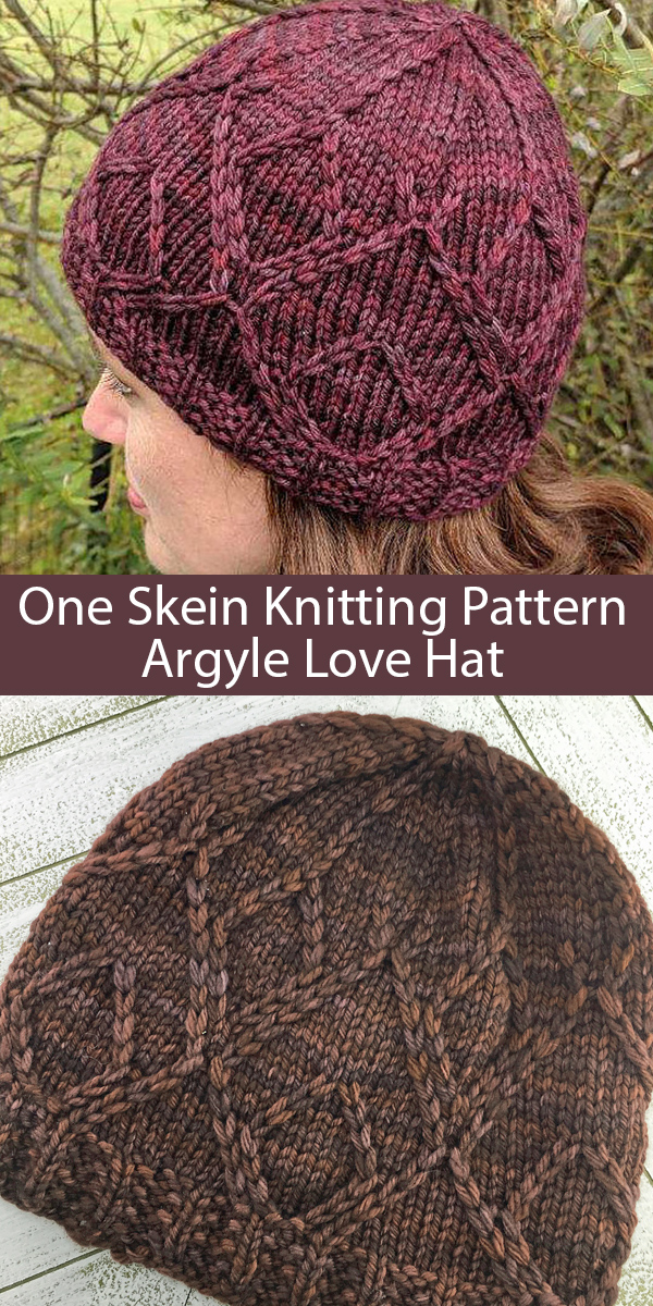 Knitting Pattern for 1 Skein Argyle Love Hat