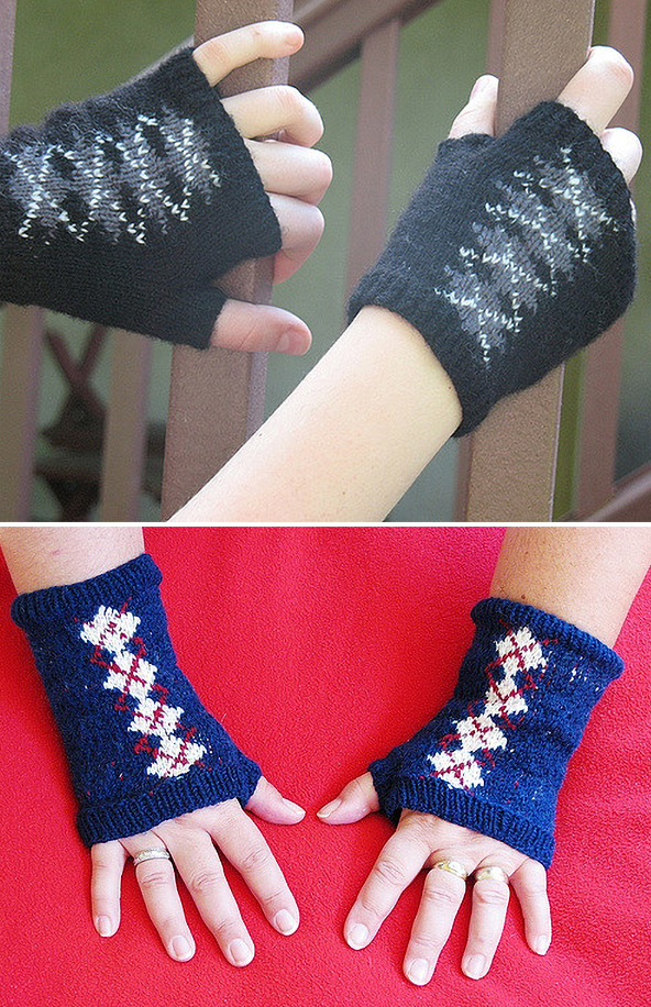 Free Knitting Pattern for Elva Argyle Mitts