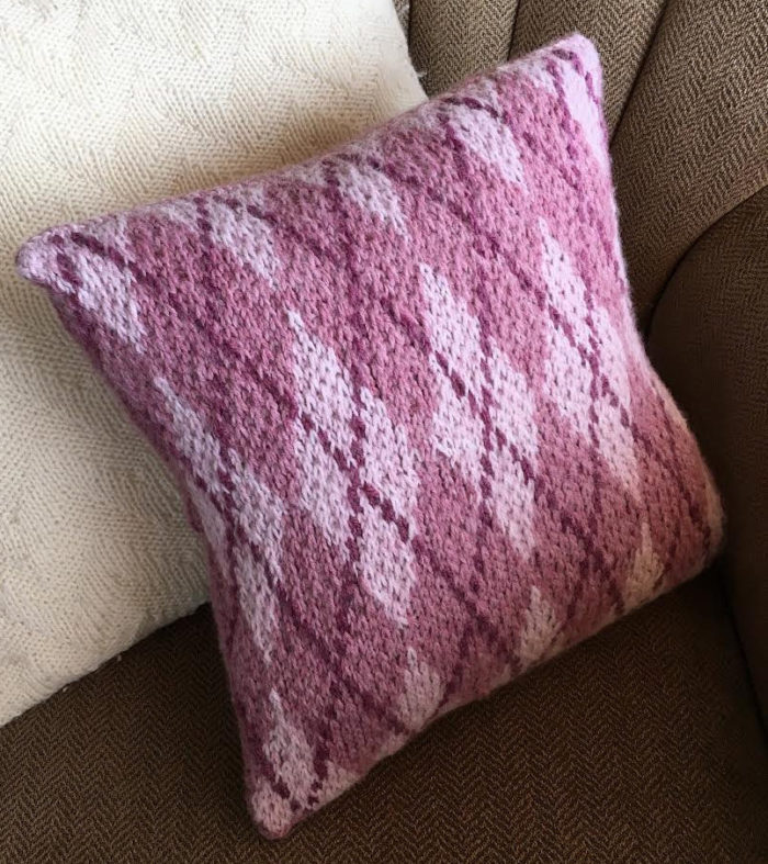Free Knitting Pattern for Argyle Pillow