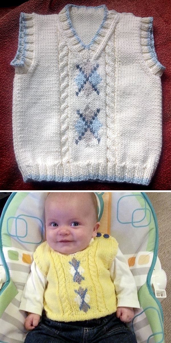 Free Knitting Pattern for Argyle Baby Vest